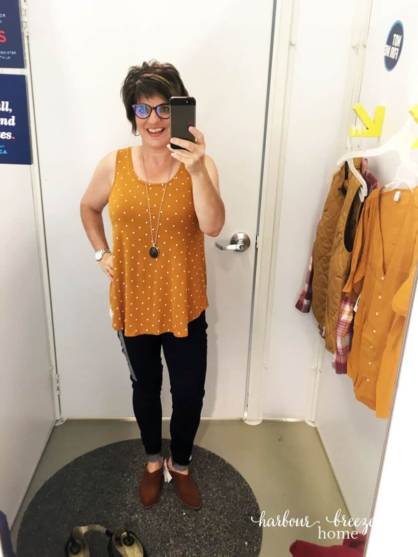 Old Navy Fall Dressing Room Try-ons - Mustard tank and jeans