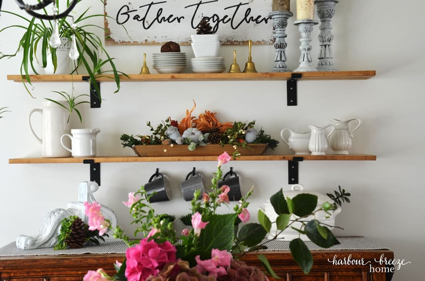 Farmhouse Shelves decorated for Fall