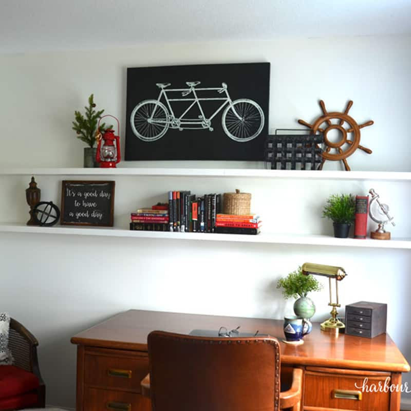 DIY Floating Wood Shelf with Dowels