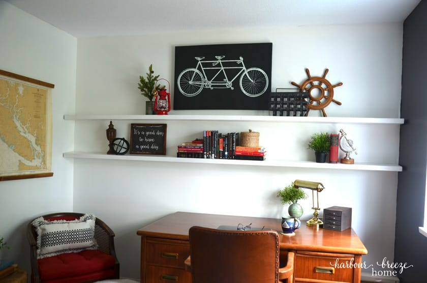 floating shelves in a farmhouse office