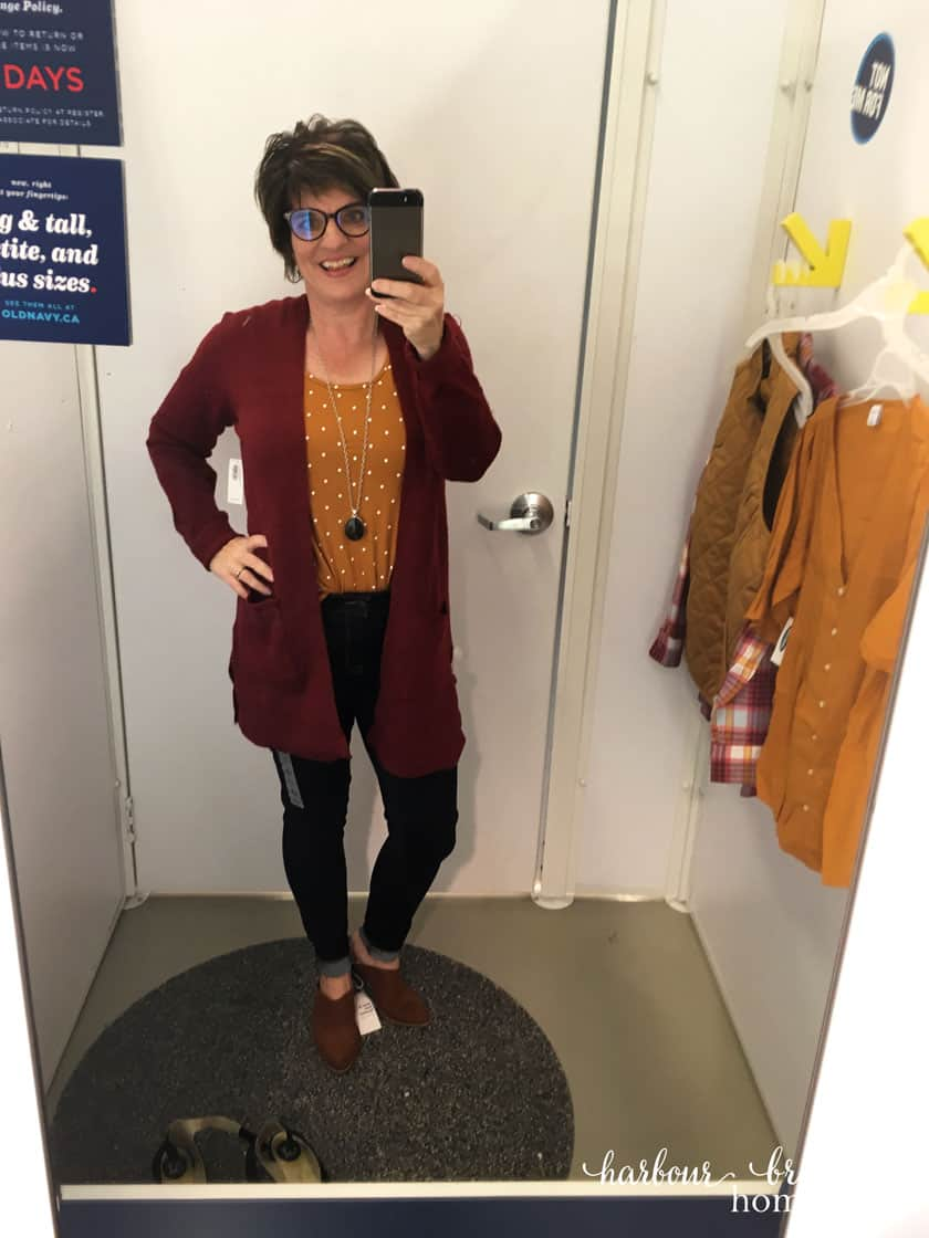 Fall fashion ideas with Old Navy dressing room try on - jeans, mustard tank, rose sweater