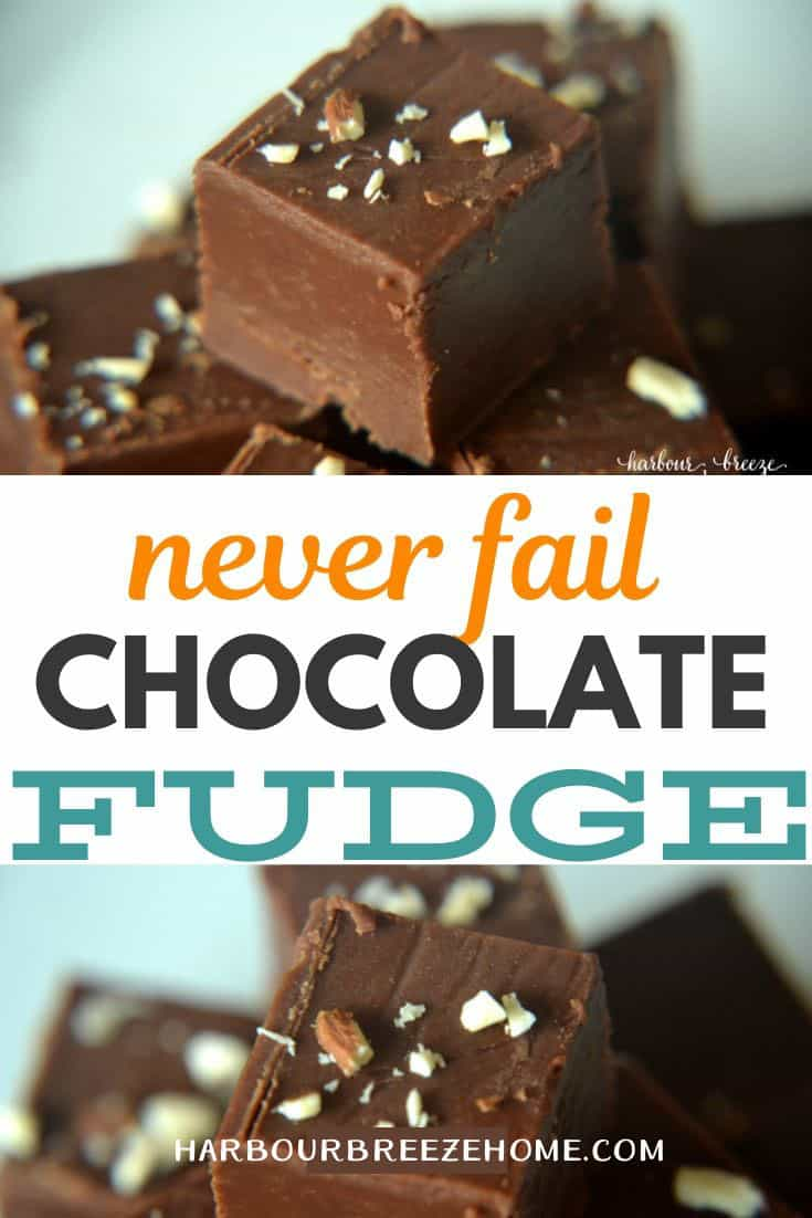 Collage of pictures of stacked pieces of chocolate fudge