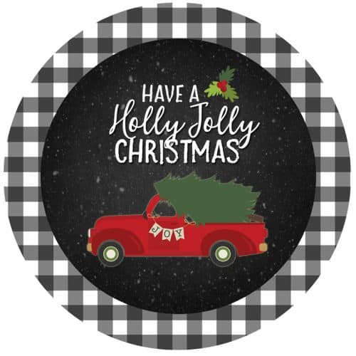 free red truck printables Christmas gift tag