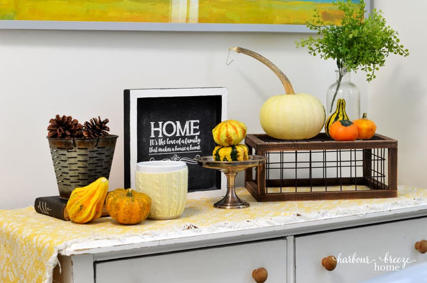 Fall Decor on a Dresser Top