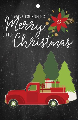 free red truck printable gift tag for Christmas