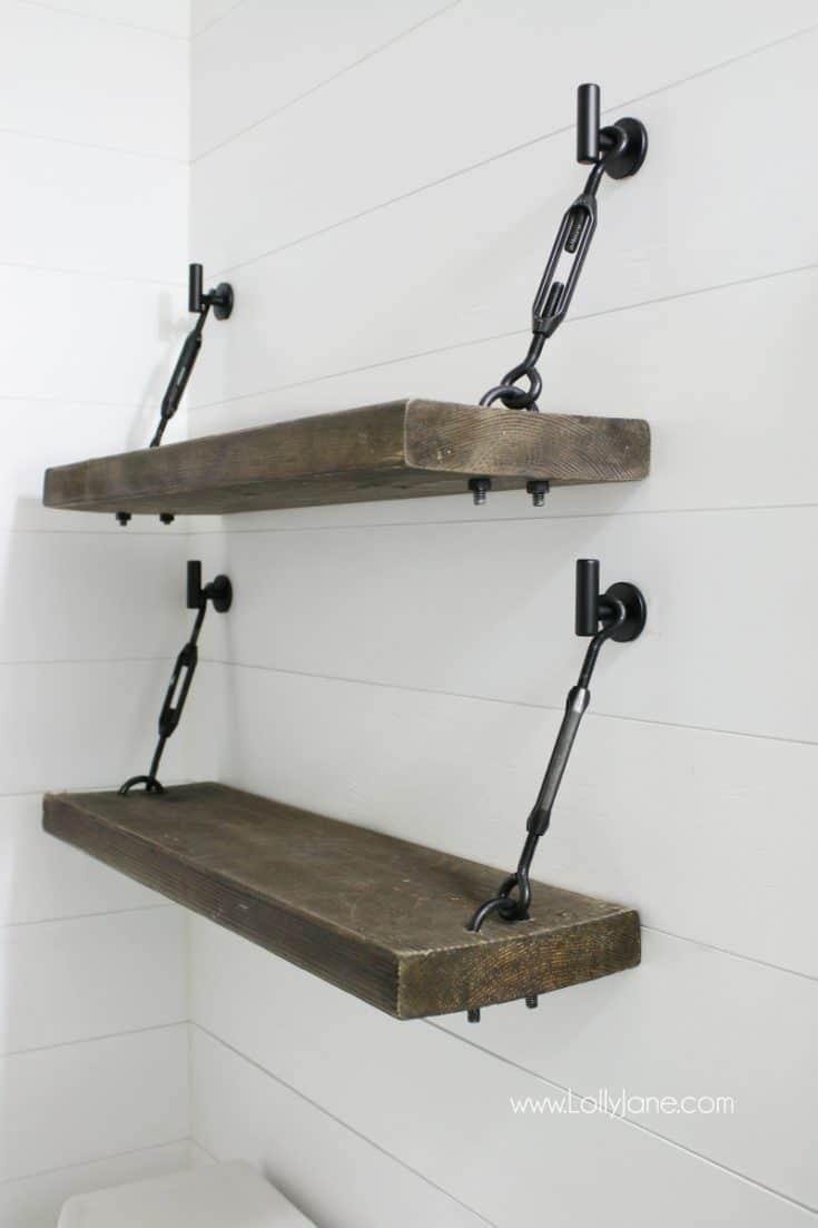 DIY Turnbuckle Shelf - A Great Bathroom Addition