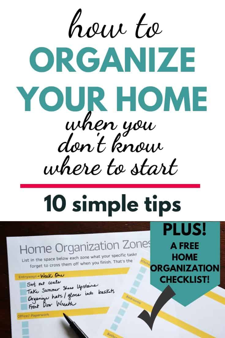 home organization pin with photo of a checklist on the bottom