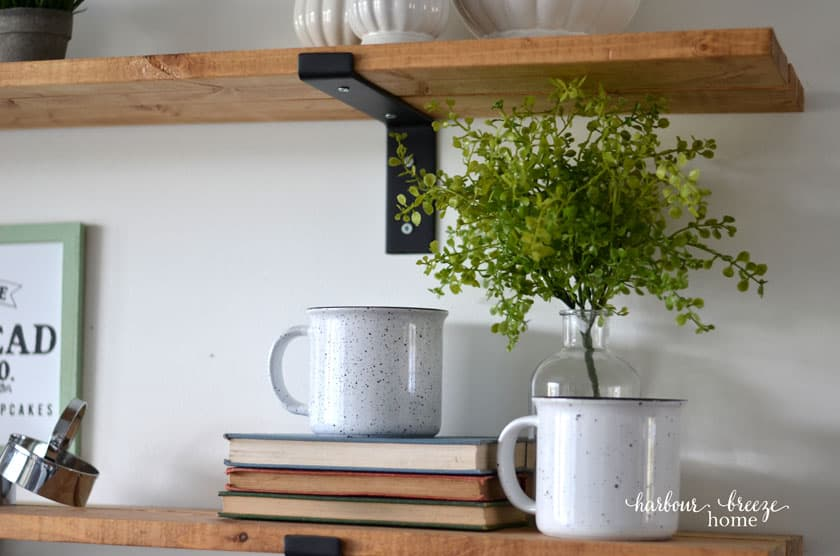 Two farmhouse enamel mugs sitting on a pile of books with greenery behind.