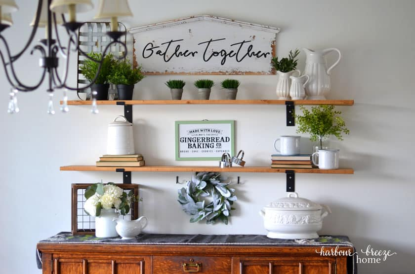 Finished Fixer Upper style farmhouse shelves styled with Winter decor.