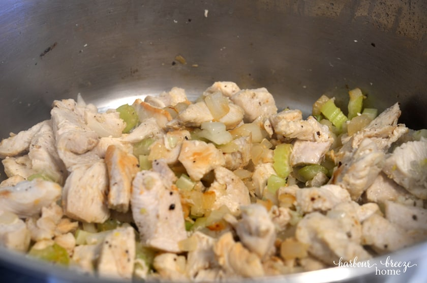 Diced chicken is sauted with onions, celery and garlic as the base to this White Chicken Chili recipe.