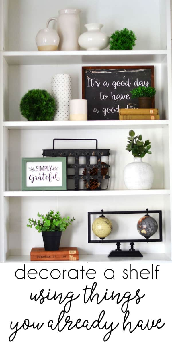 Ideas for Decorating Bookshelves with 3 Key Items (you probably already have!)