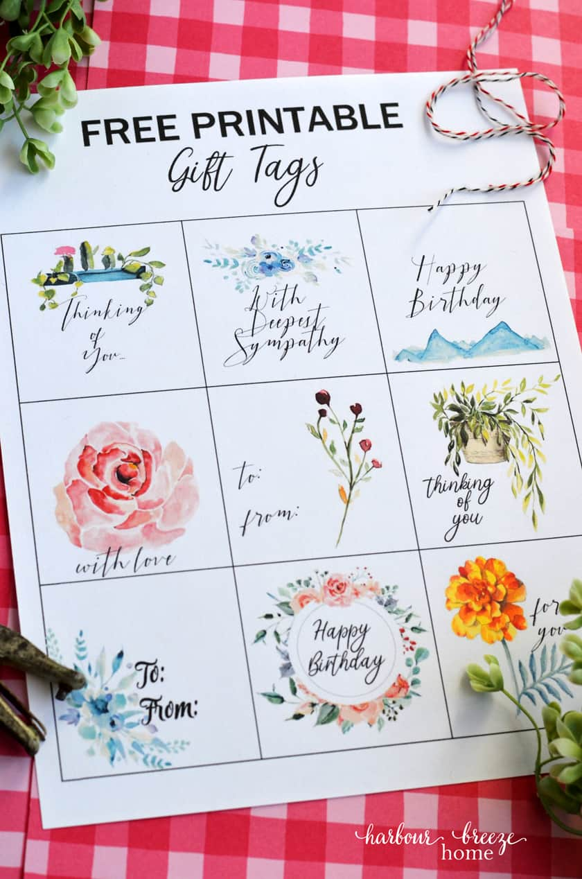 "Free printable gift tag sheet with 9 different designs, including the sentiments ""With Deepest Sympathy"", ""Happy Birthday"", ""to and from"", ""Thinking of You"", and ""With Love""."