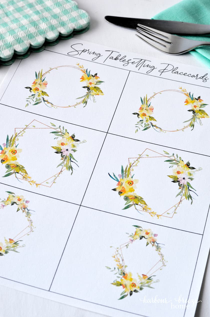 Picture of printable place cards designed with yellow floral watercolor art.