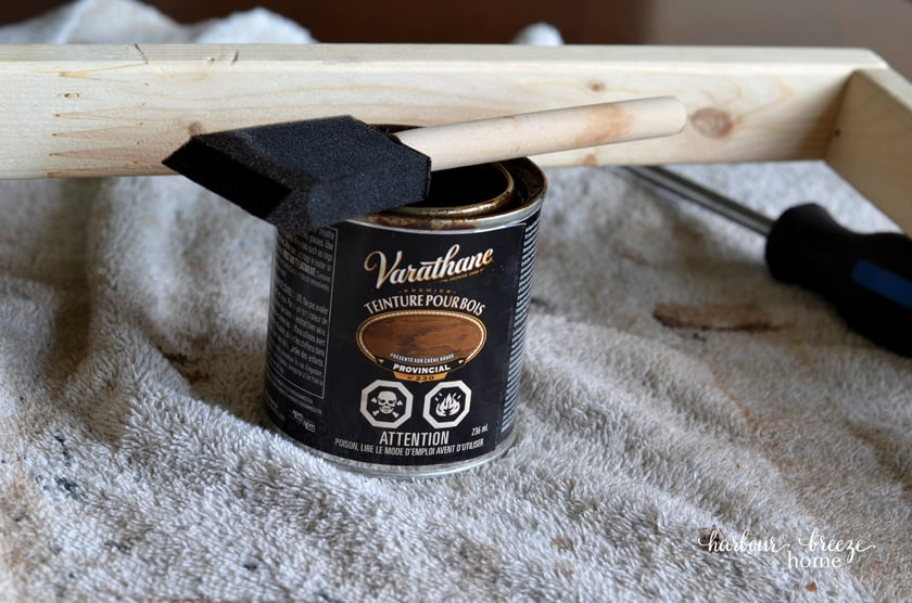 Minwax Provincial stain and a foam brush to apply stain to the homemade picture frame.