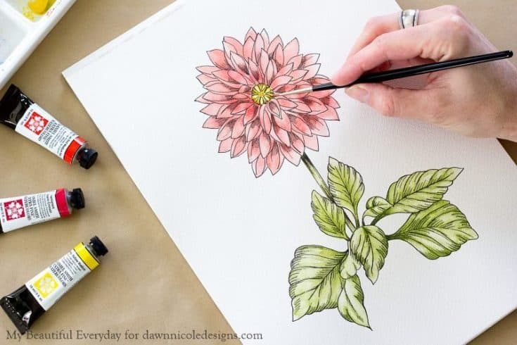 DIY Watercolor Dahlia + Printable