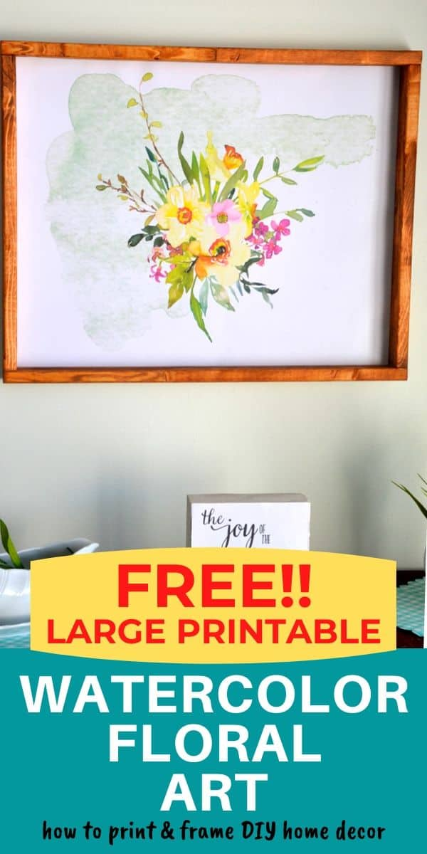 large free printable watercolor floral hung on a wall in a DIY wood frame