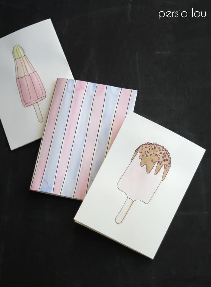 Free Printable Watercoloring Popsicle Cards