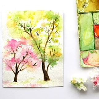 Spring Trees Watercolor Painting with… Crumpled Paper!