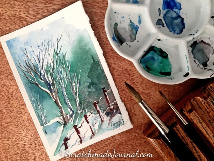 10-Minute Winter Woodland Watercolor Tutorial