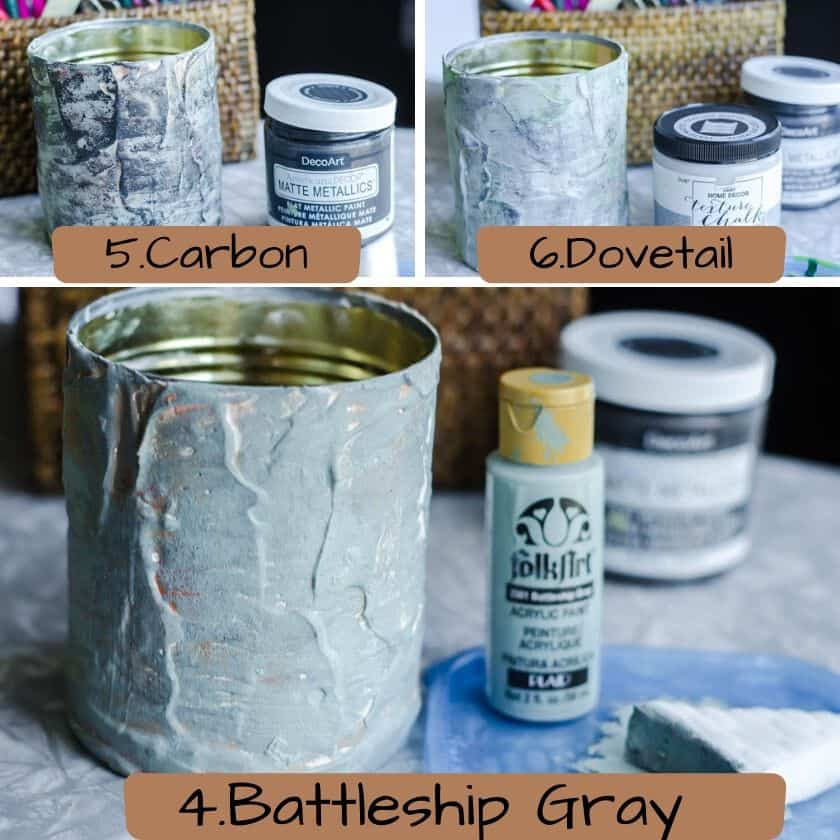 Acrylic paint colors to make a tin can look like cement.
