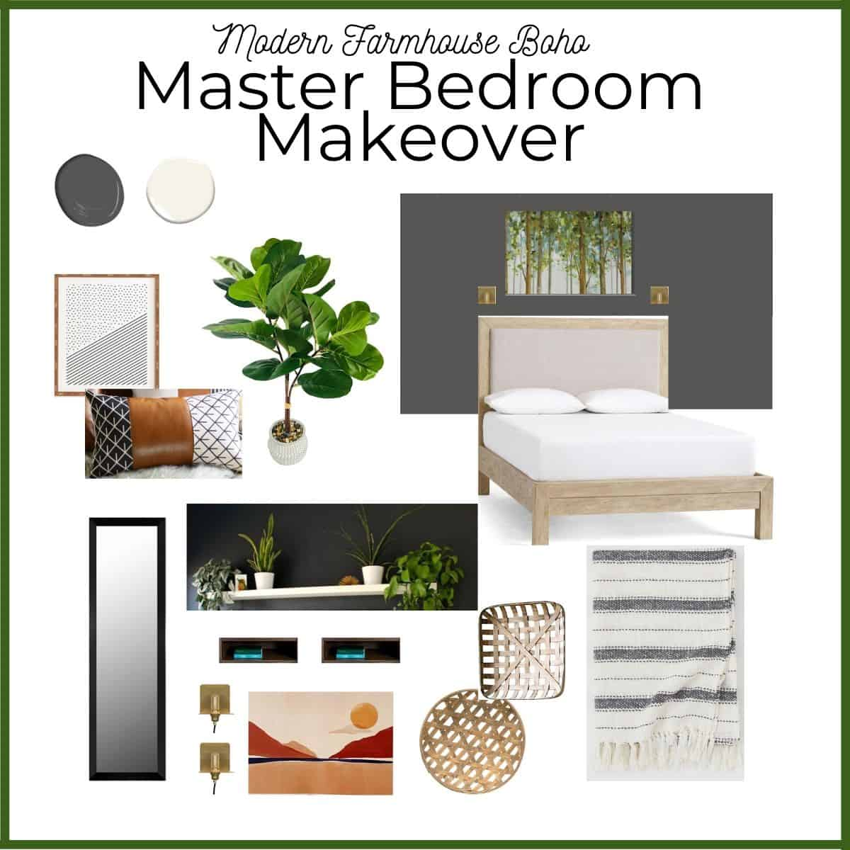 Mood board of a modern farmhouse boho inspired master bedroom makeover