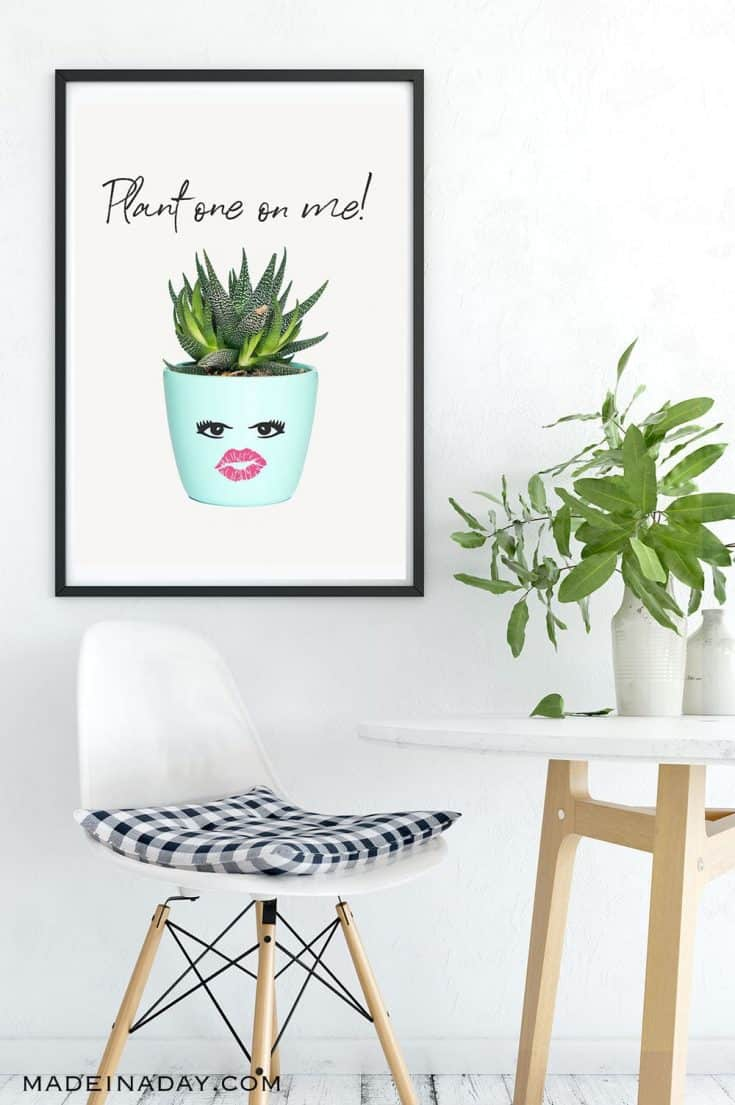 Inspiring Succulent Printable Wall Art: Plant One on Me!