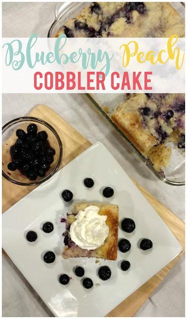 Blueberry Peach Cobbler Cake - Sunshine and Munchkins