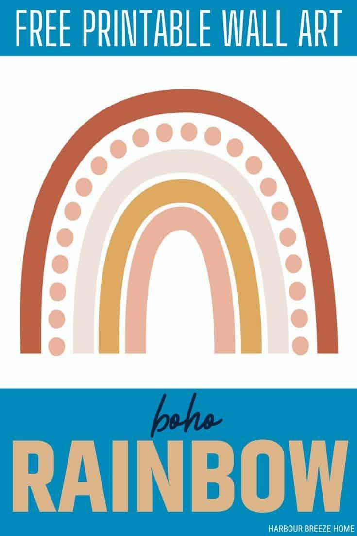 Print this Boho Rainbow Art Print for free!