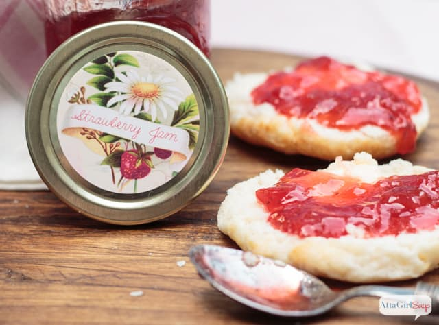 Easy Strawberry Jam Recipe & Canning Jar Labels