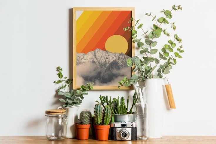 Retro Mountain View Wall Art