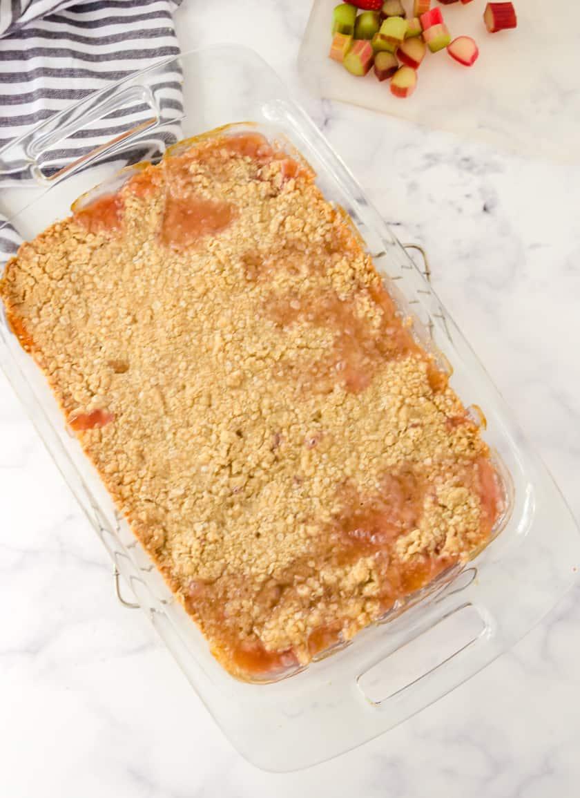 baked rhubarb crisp in 9x13 pan