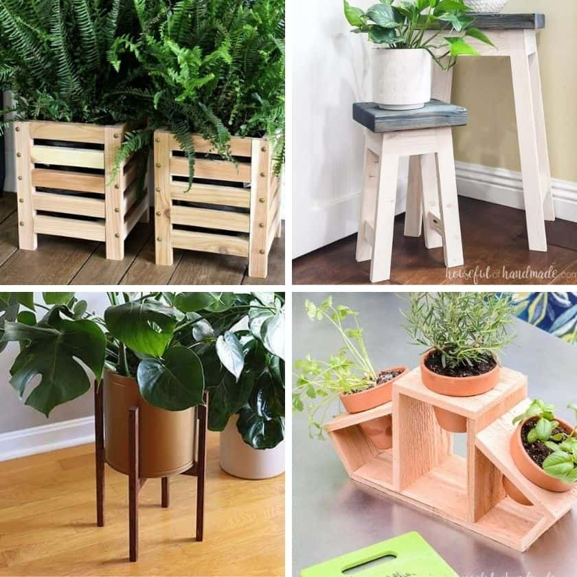 12 Ways to Make a DIY Planter Stand with Wood