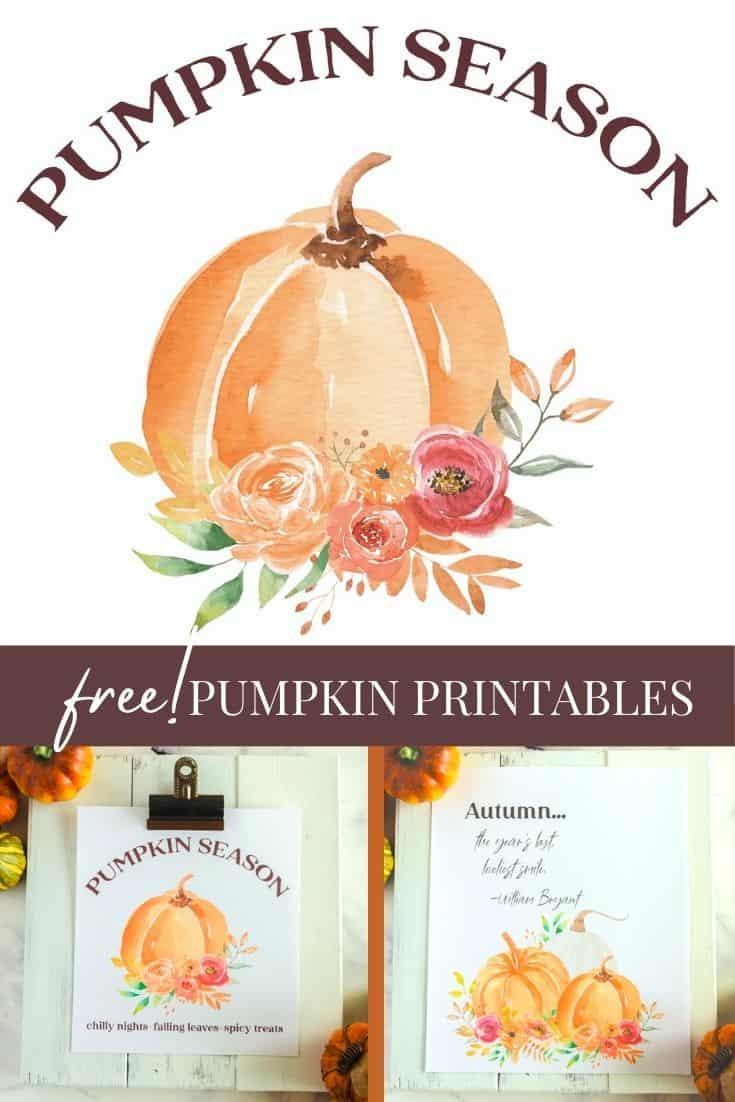 printable wall art - watercolor pumpkins for fall