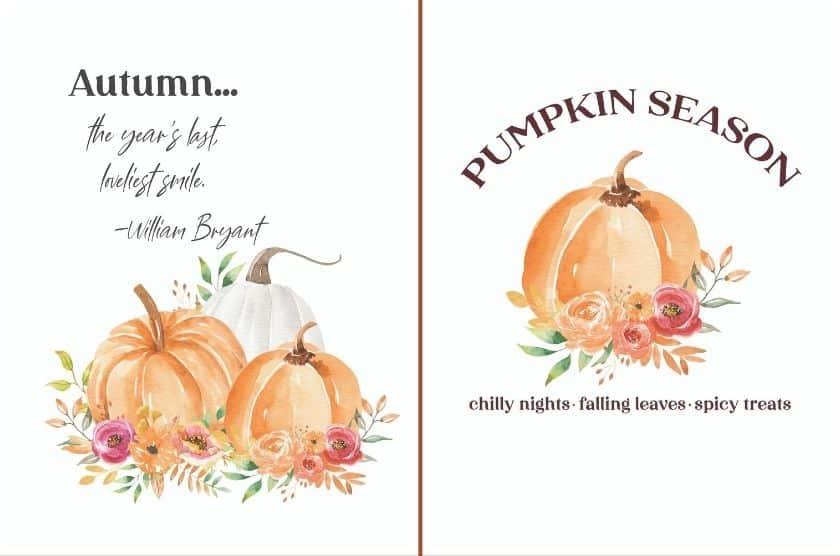 watercolor pumpkins - Fall art printables for the wall