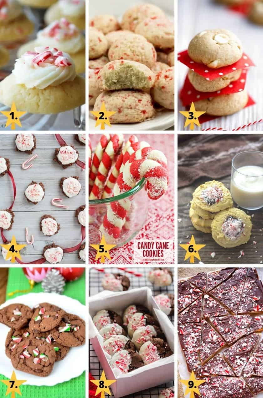 Christmas cookie images with peppermint or candy canes.
