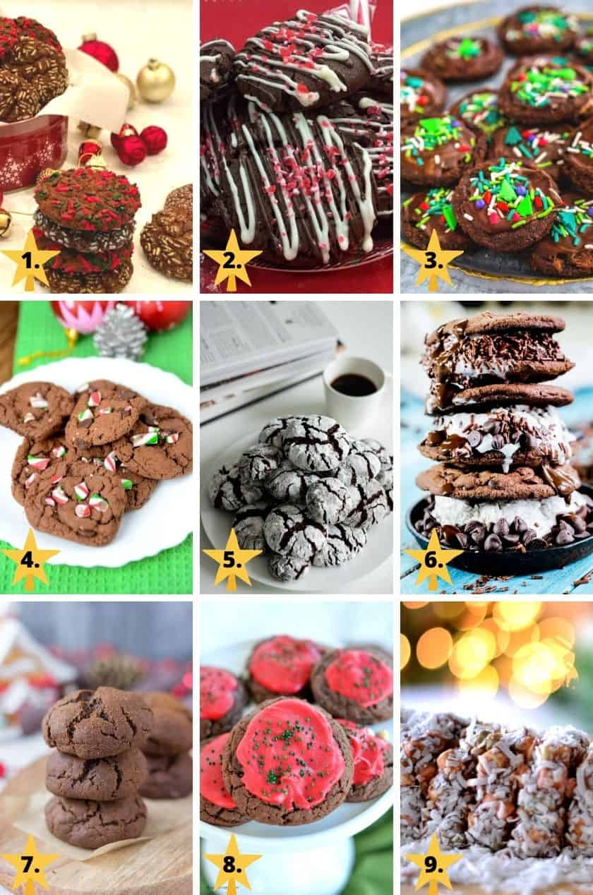 Pictures of 9 different types of chocolate Christmas cookies