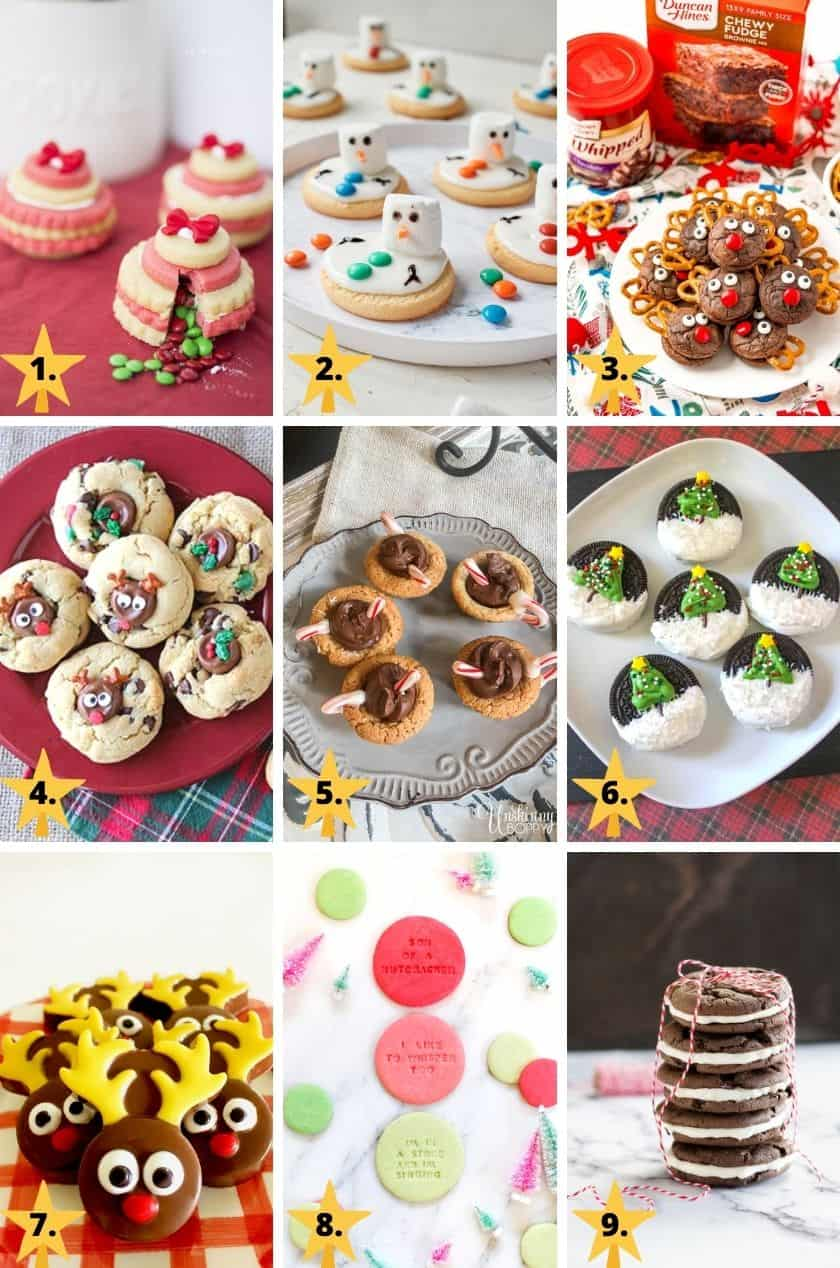 Pictures of Cute Christmas cookies of snowmen, reindeer, Christmas trees, and Christmas ornament cookie