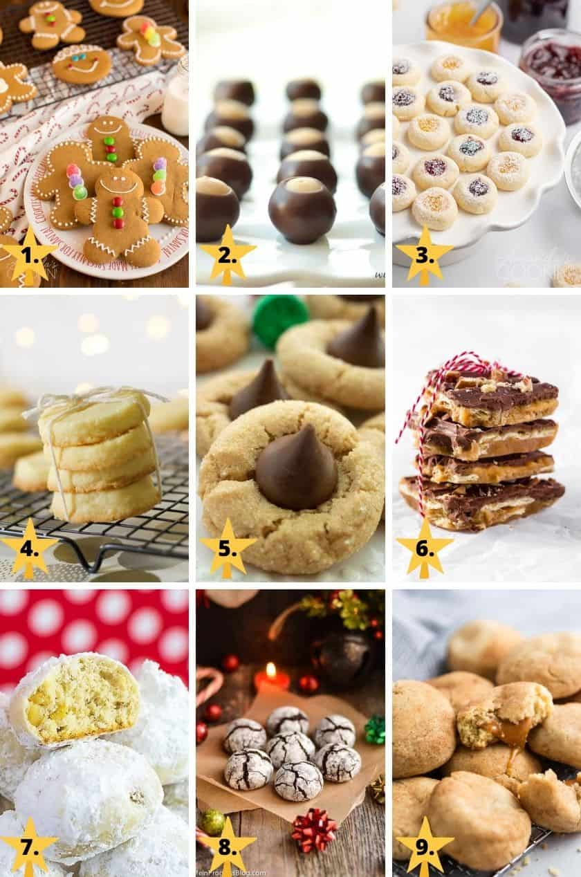 Pictures of the 9 top classic Christmas cookies - gingerbread cookies, buckeyes, thumbprint jam cookies, shortbread, peanut butter blossoms, Christmas crack, snowballs, chocolate crinkles, & snickerdoodles.