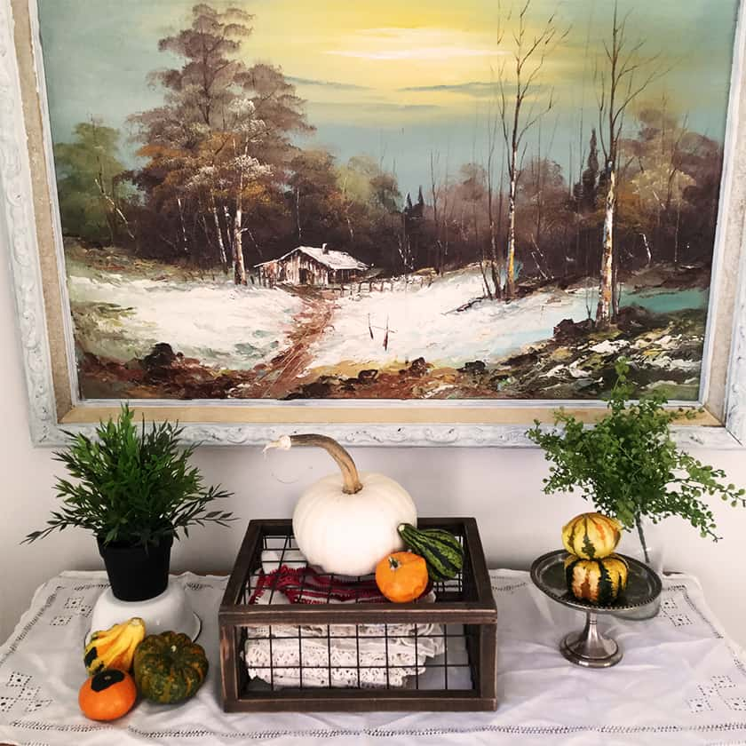 Real pumpkins arranged on a dresser or table makes great room decor for the season.