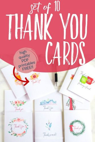 Set of 10 printable thank you cards