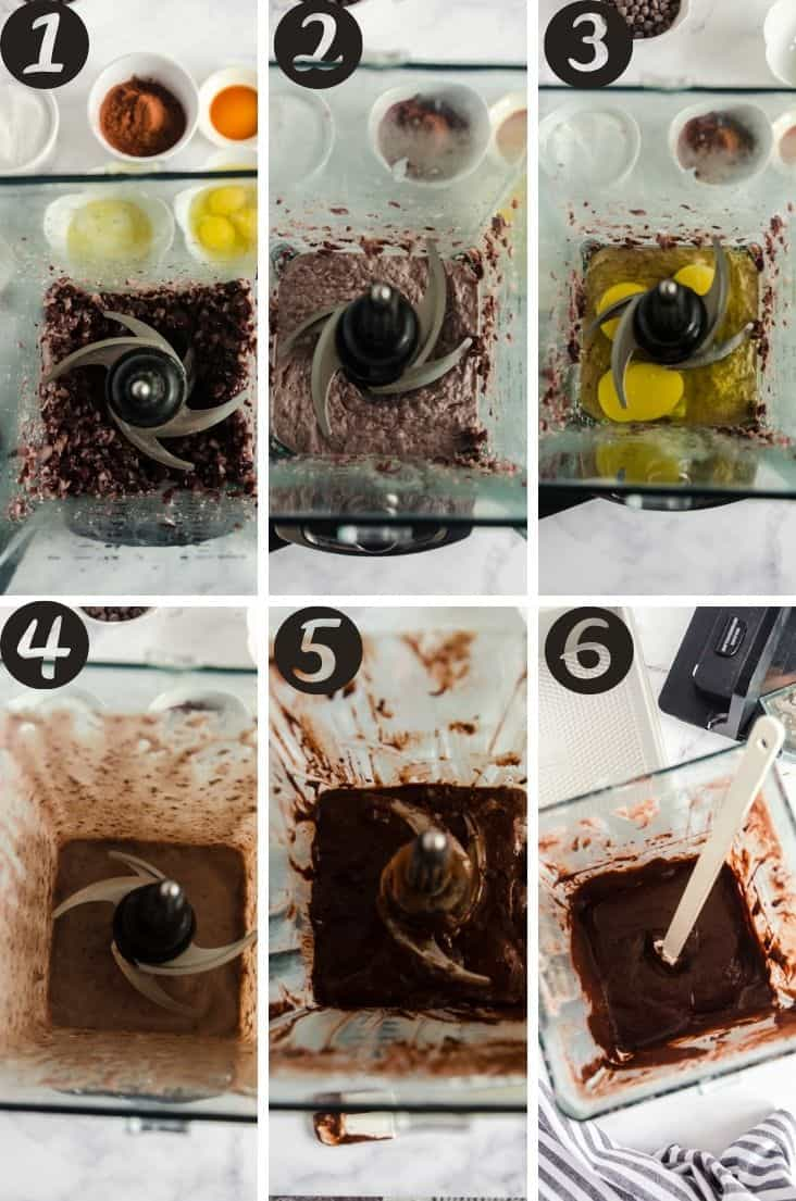 A collage of the black bean brownies being mixed in a Ninja blender.