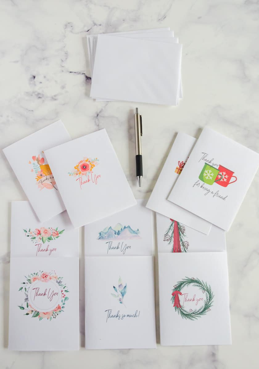All occasion thank you notes you can print for free at home