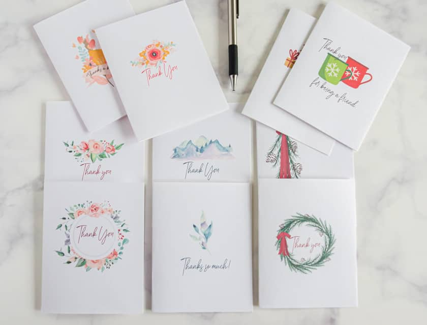 Set of 10 free printable thank you cards