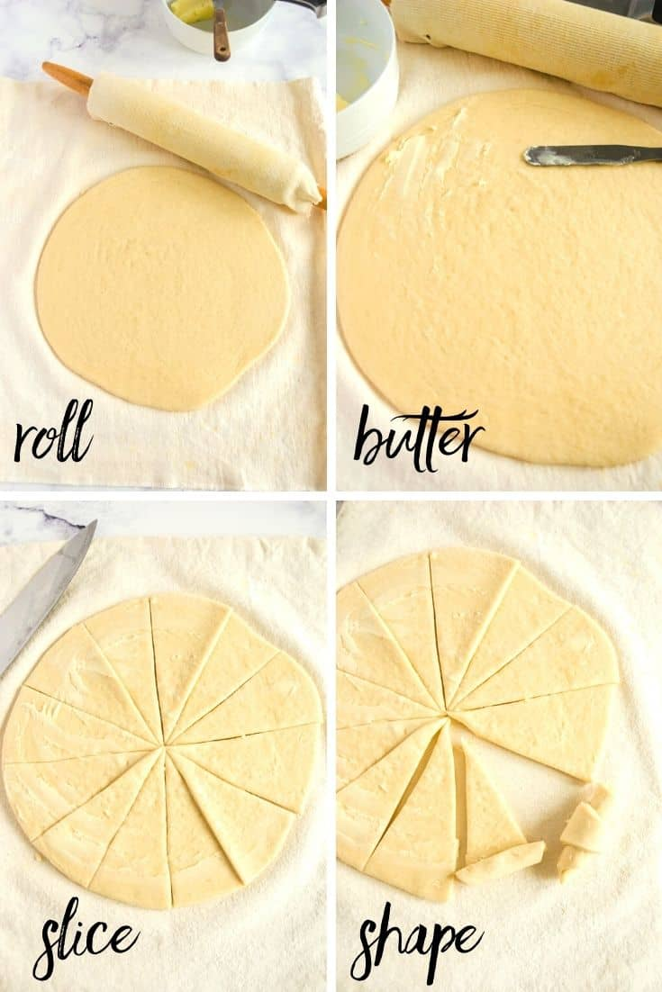 Collage of the steps of how to make crescent shaped dinner rolls using bread machine dough. Steps 2-4 - roll, butter, slice, and shape.