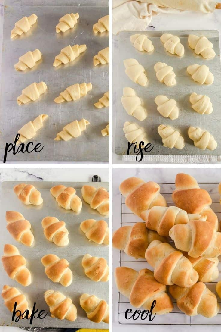 Collage of the last 4 steps of making homemade dinner rolls with bread machine dough - place buns on pan, let rise, bake, and cool on wire rack.