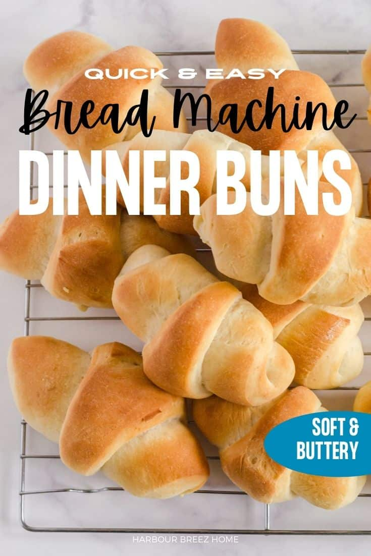 The Best Ever Quick & Easy Bread Machine Dinner Rolls on a cooling rack