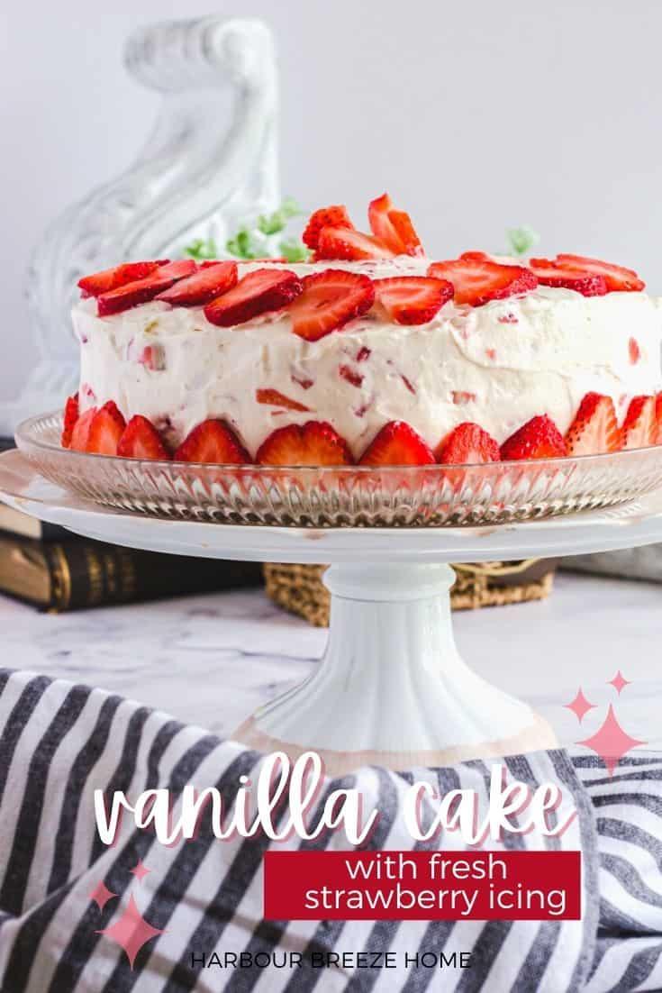 Moist Vanilla Cake recipe with Strawberry Cream Cheese Icing