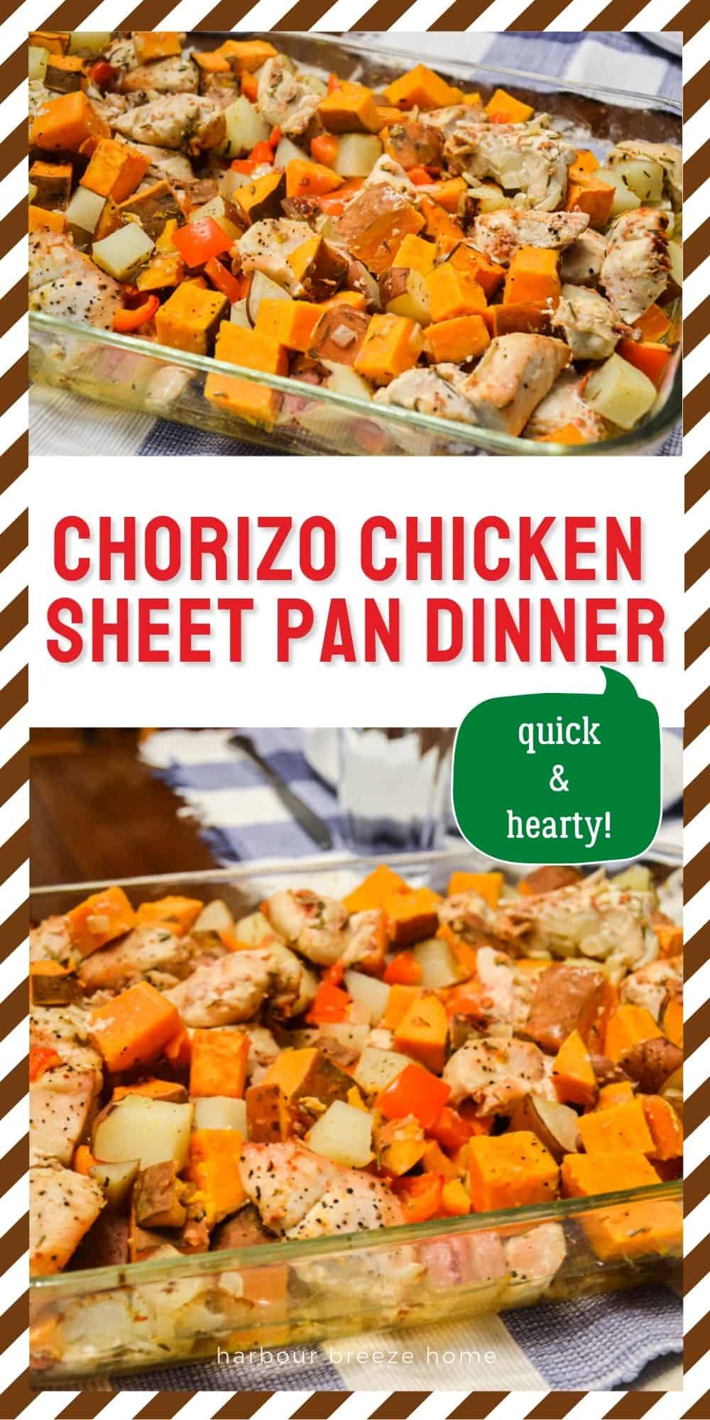 Chorizo Chicken Sheet Pan Dinner in a pan sitting on a table