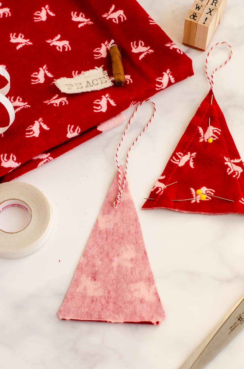 How to place the hanger on a DIY Christmas Tree Fabric Ornament