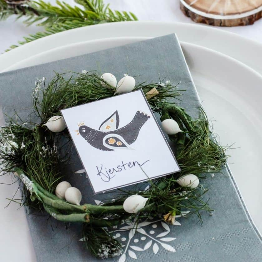 Simple Scandinavian Inspired Table Setting and Printable Place Cards